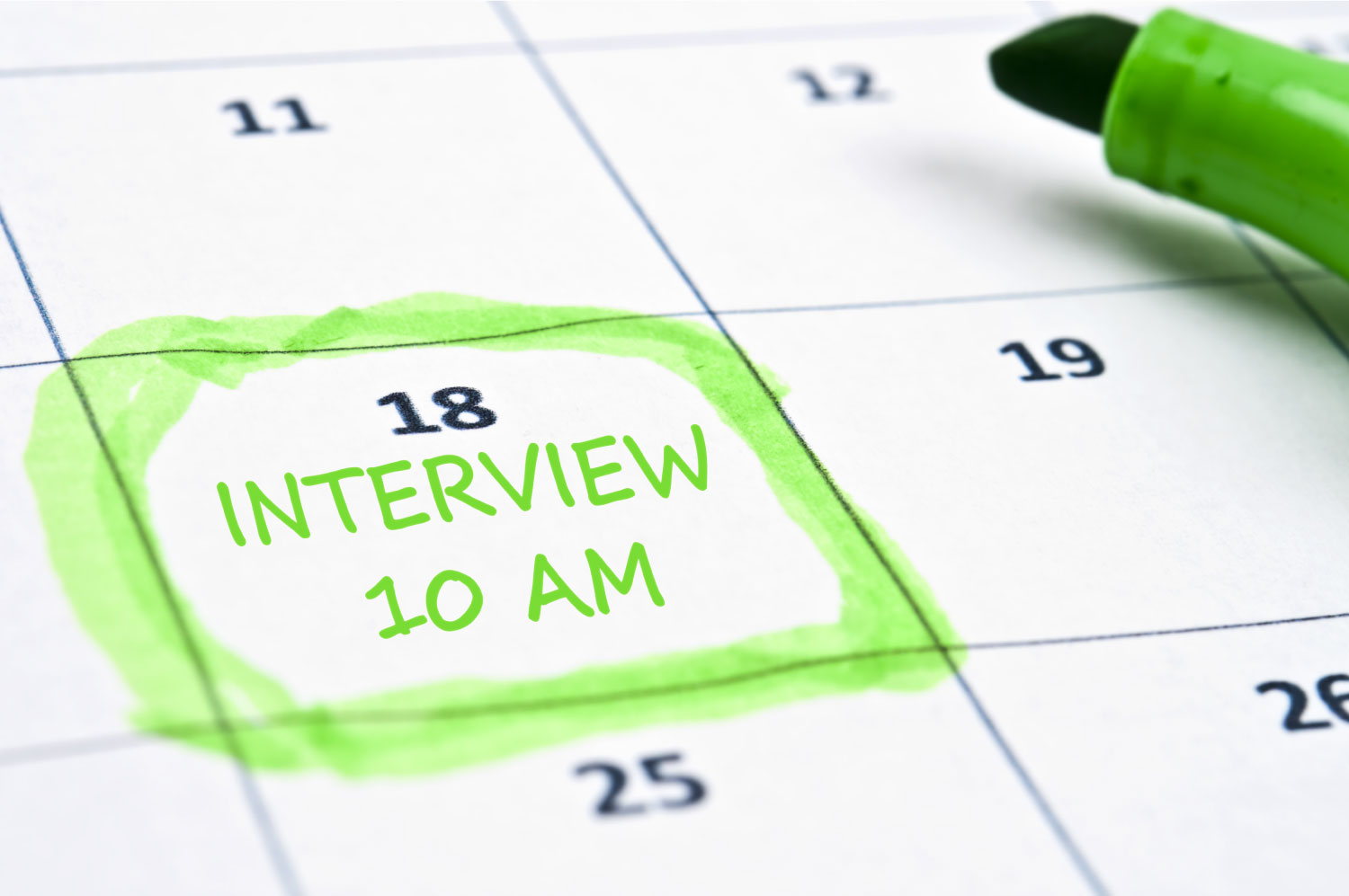 calendar marked with the time of a job interview
