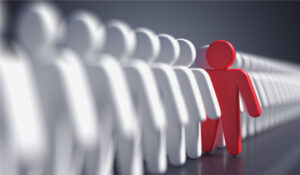 3D rendered illustration of standing out from the crowd