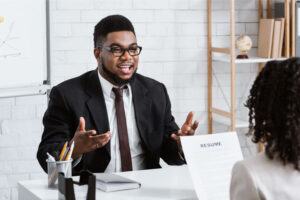 a job candidate being interviewed