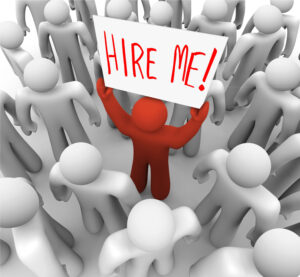 3D rendered illustration of a person holding a hire me sign in a crowd
