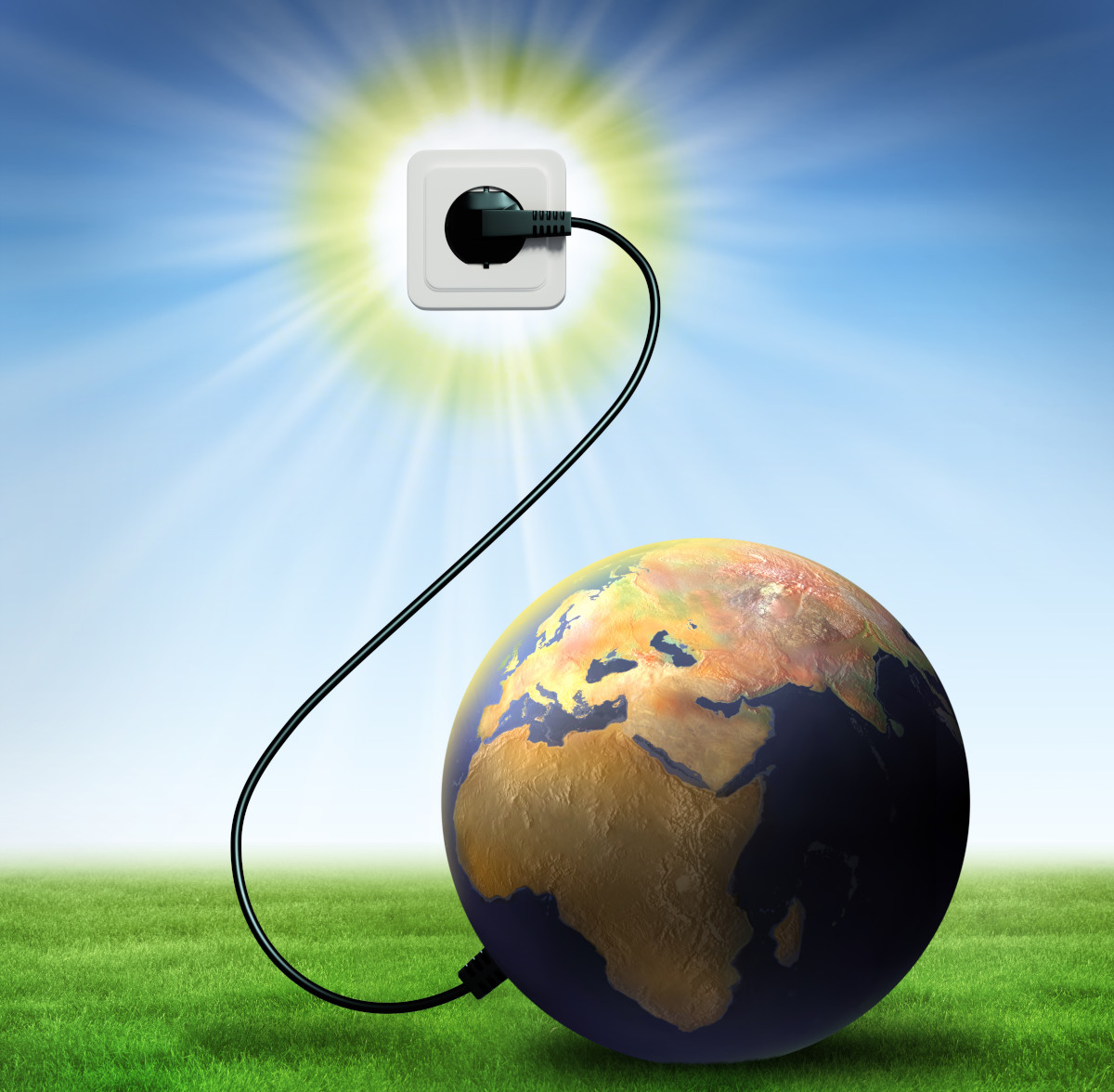 an image of the planet connected via a lead to a plug socket