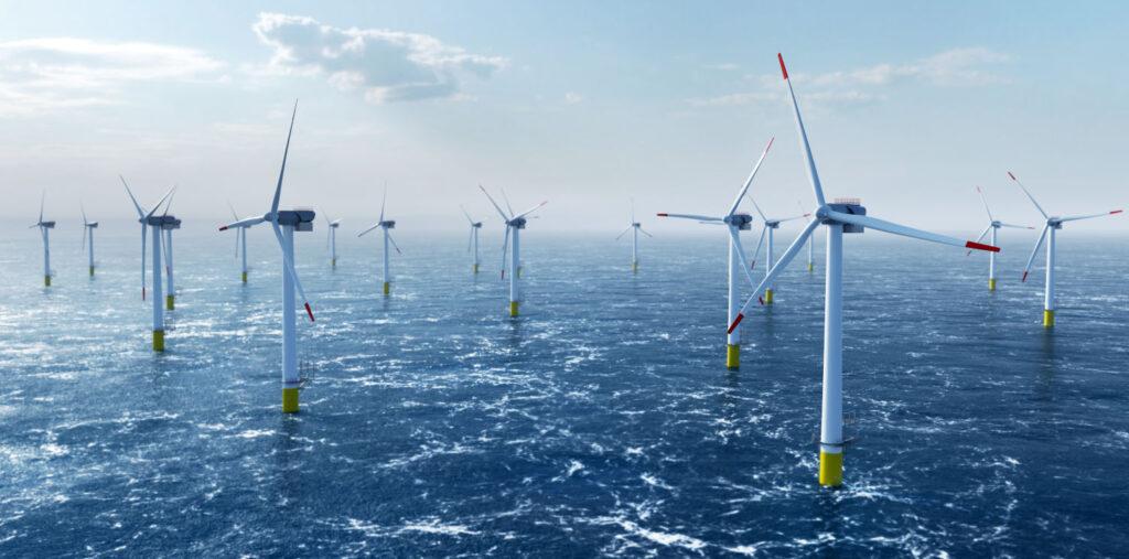 a wind turbine farm at sea